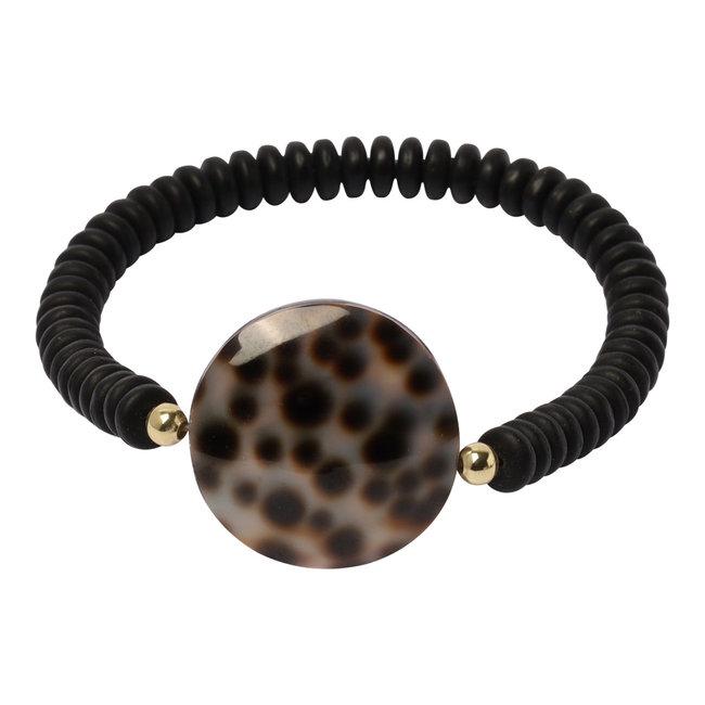 Zwarte armband luipaard groot