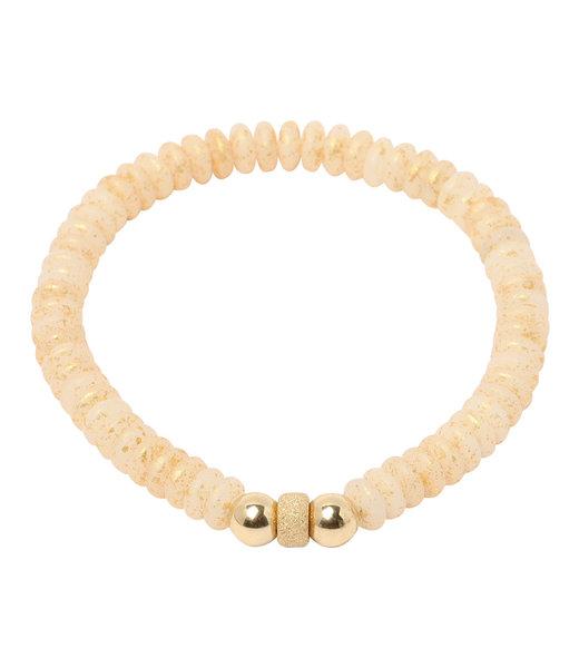 Crème Armband goud 6 mm.
