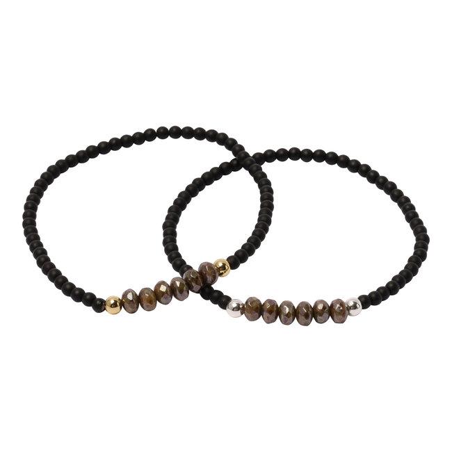 Mat zwarte armband rondell