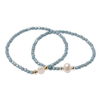 Blauwe armband parel