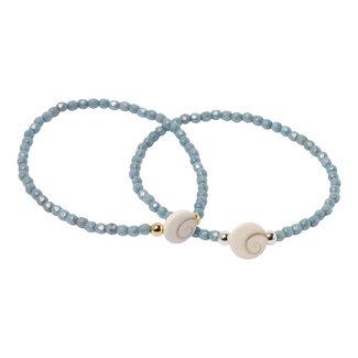 Blauwe armband Shiva schelp