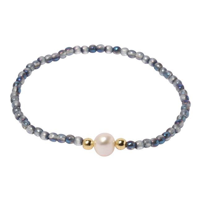 Blauwe glans armband parel