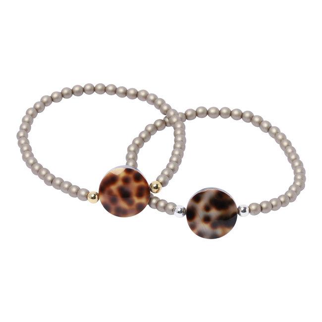Grijze armband luipaard schelp