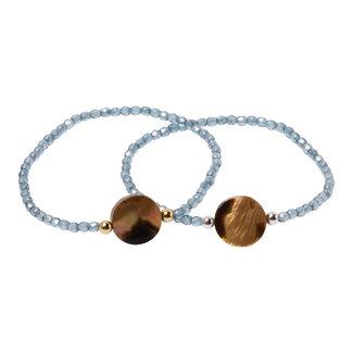 Kristal blauwe armband  brownlip schelp