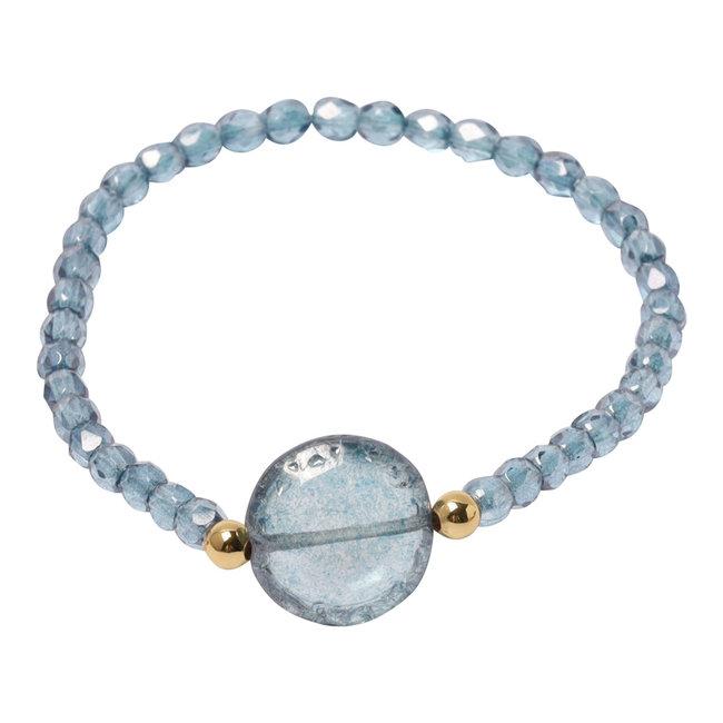 Kristal blauwe armband  knoop