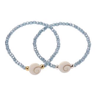 Kristal blauwe armband Shiva schelp