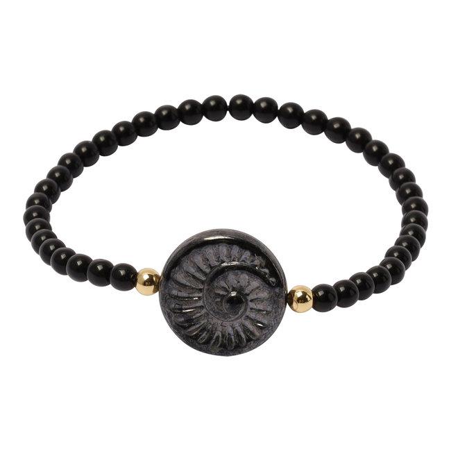 Zwarte armband fossiel