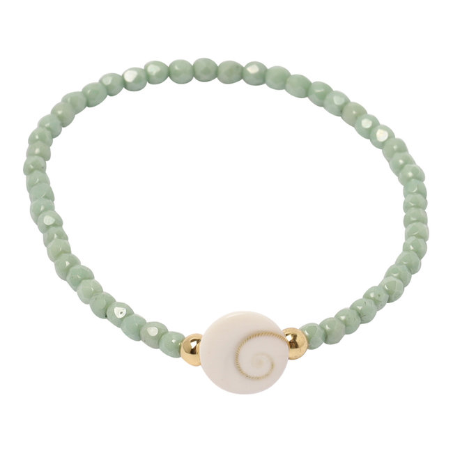 Mint groene armband Shiva eye schelp