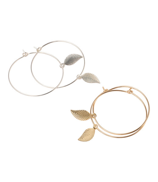 Oorringen goud/ zilver blaadje