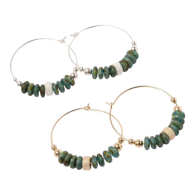 Oorringen goud/ zilver groen/turkoois