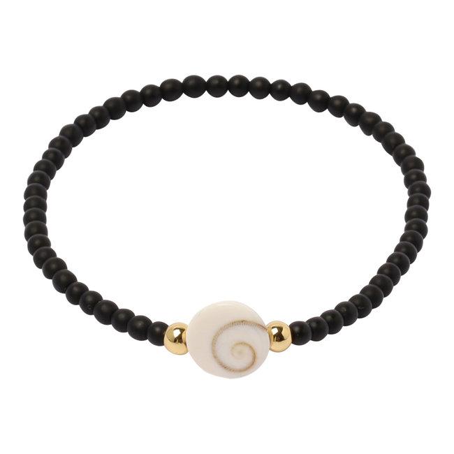 Mat zwarte armband Shiva eye schelp
