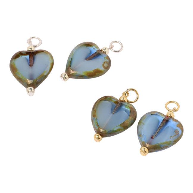 Oorbel hangers los hart blauw