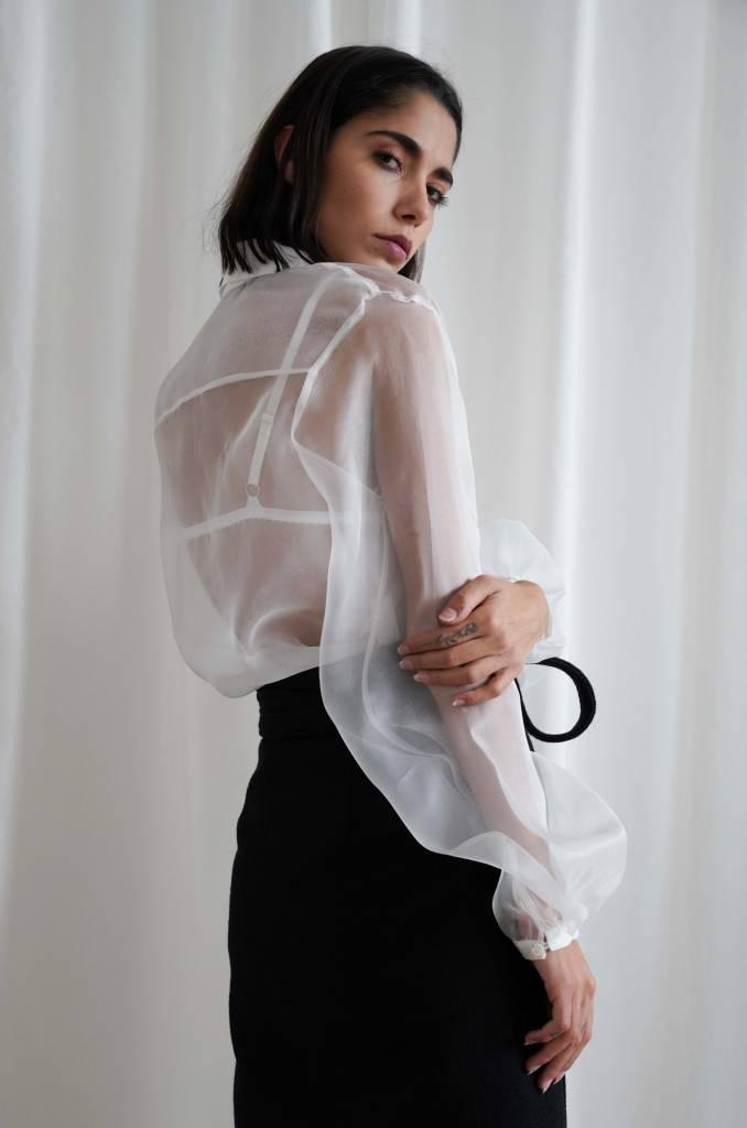Matin Full Sleeve Silk Organza Shirt