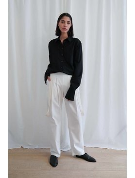 Matin Cotton Twill Pants W. Silk Linen Straps