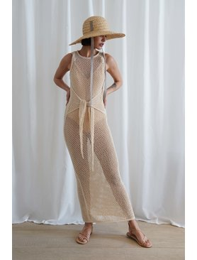 Nanushka Mame Loose Knit Tie Dress