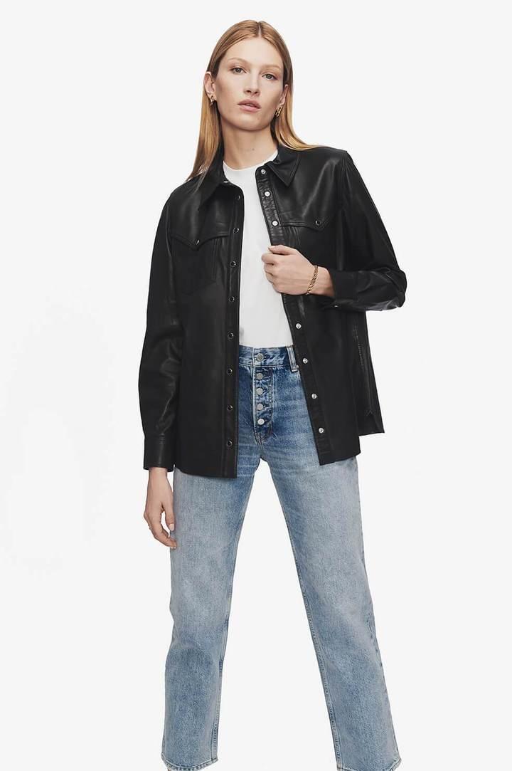 Anine Bing Luke Leather Shirt