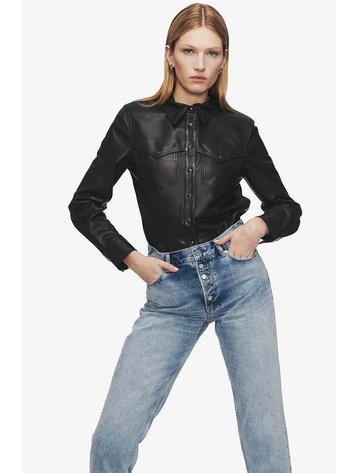Anine Bing Luke Leather Shirt
