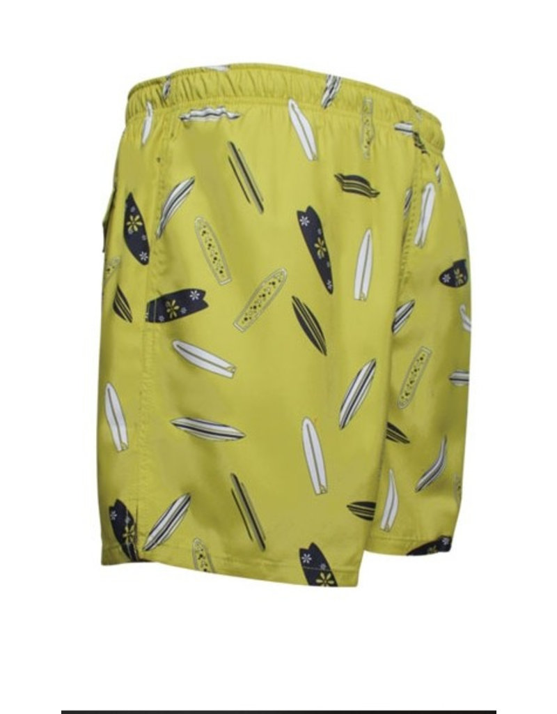 Men's Fshion Shorter Length Swim Trunk In Surfboard Print