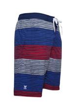Men's Fashion Multi-Color Stripe Pattern Swim Trunk Rood Wit Blauw