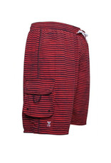 Men's Fashion Multi-Color Stripe Pattern Swim Trunk Rood