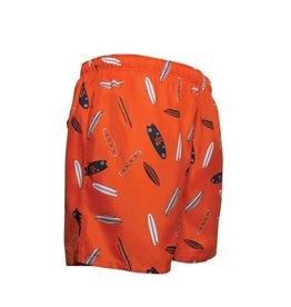 Men's Fshion Shorter Length Swim Trunk In Surfboard Print Orange
