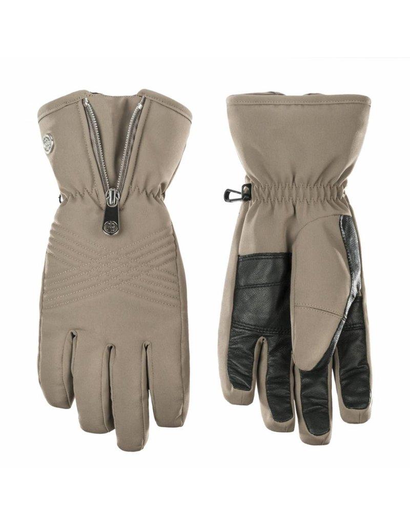 Stretch ski gloves khaki grey