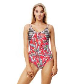 Piha twin strap suit coral