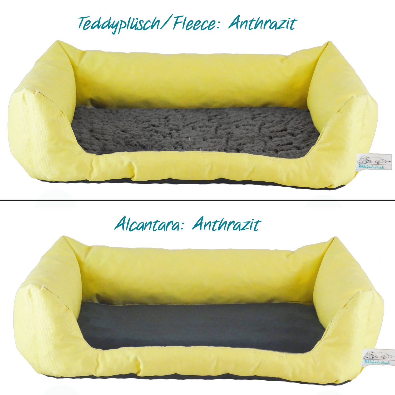 Handgefertigtes Inkontinenz-Hundebett Gelb