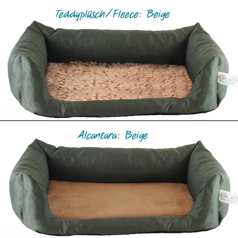 Handgefertigtes Inkontinenz-Hundebett Oliv
