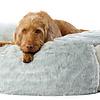 Hundebett Pouf - Fell weiss-grau meliert