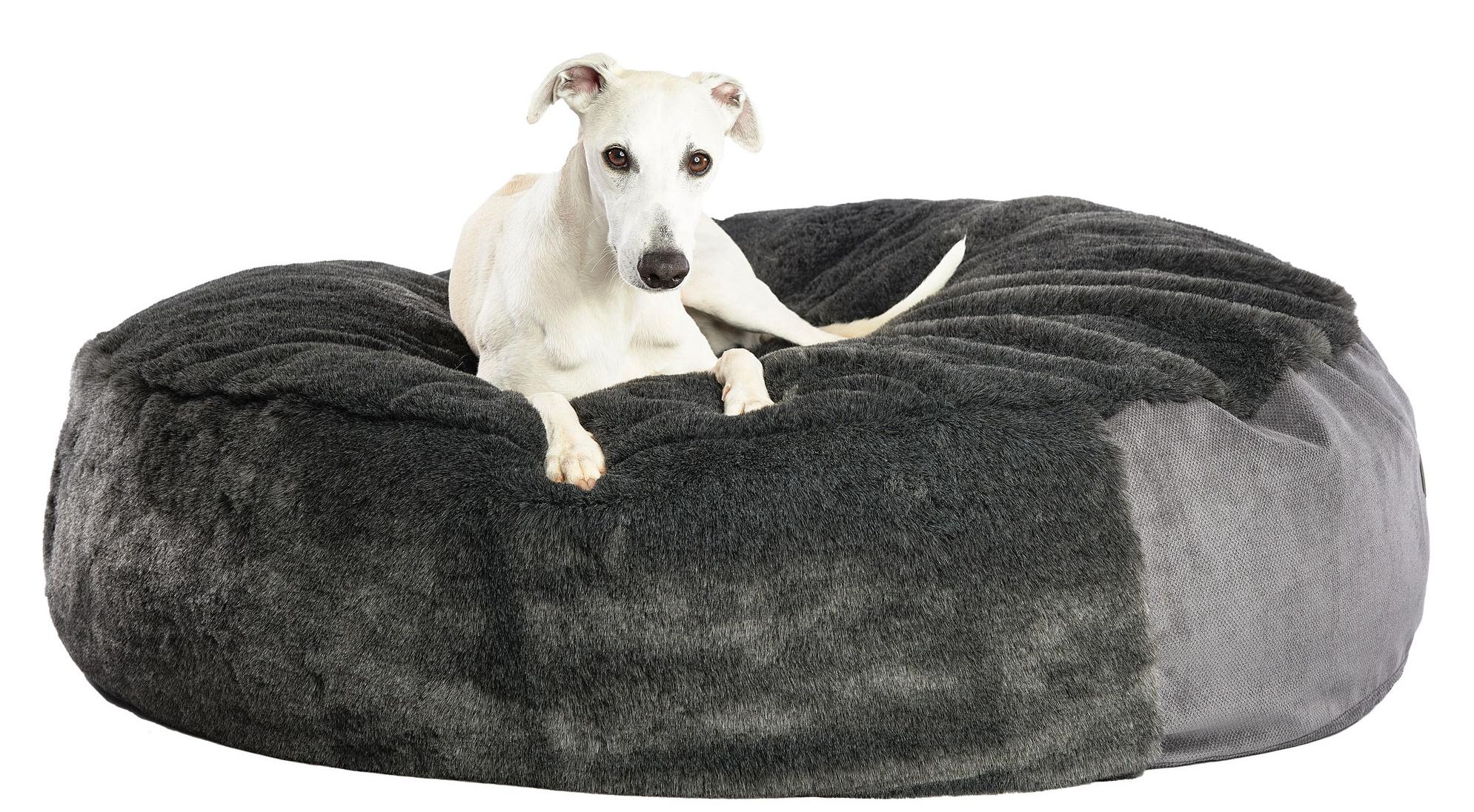 Hundebett Pouf - Fell Anthrazit