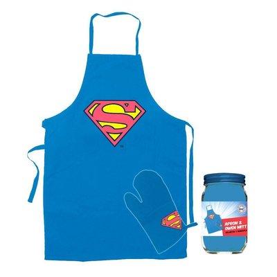 DC Comics Superman Cooking Apron with Oven Mitt Logo