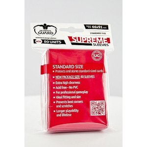Ultimate Guard Supreme Sleeves Standard Size Red (80)