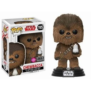Funko POP! The Last Jedi - Chewbacca with Porg Flocked Bobble Head 10cm