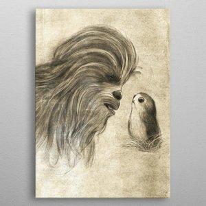 Star Wars Star Wars Metal Poster Last Jedi Sketches Chewie & Porg 32 x 45 cm