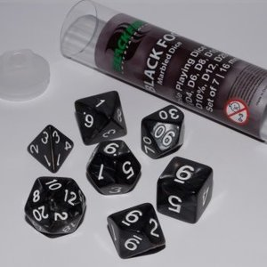 Blackfire Dice 16mm Role Playing Dice Set - Black Fog (7 Dice)