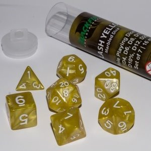 Blackfire Dice 16mm Role Playing Dice Set - Flash Yellow (7 Dice)