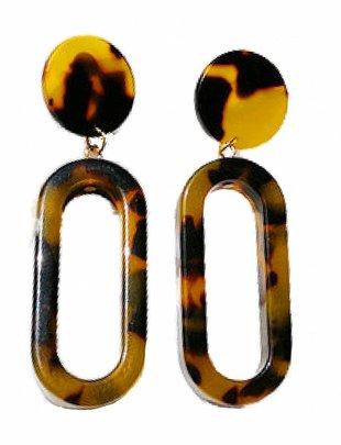 Turtle Oval Drop Earrings