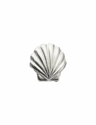 Stud Earrings Fan Shell Silver (a piece)