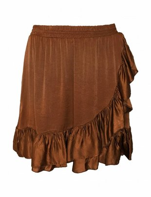 Fringe Silky Skirt Copper