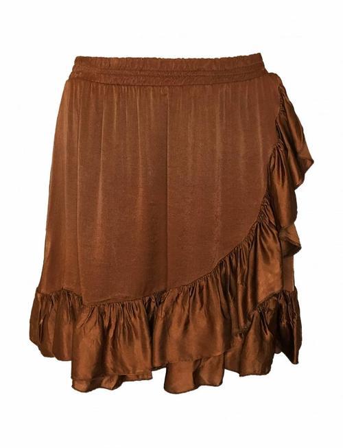 Fringe Silky Skirt Copper