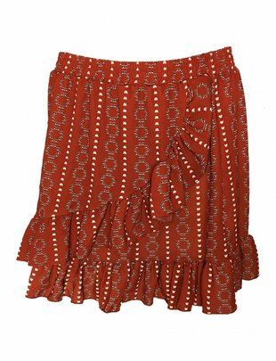 Fringe Ethnic Skirt Red