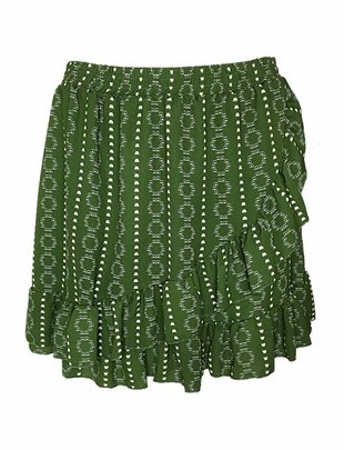 Fringe Ethnic Skirt Green