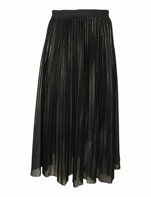 Pleated Shiny Skirt Black