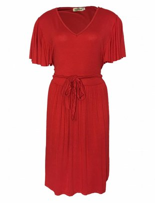 Flower Petals Sleeves Dress - Red