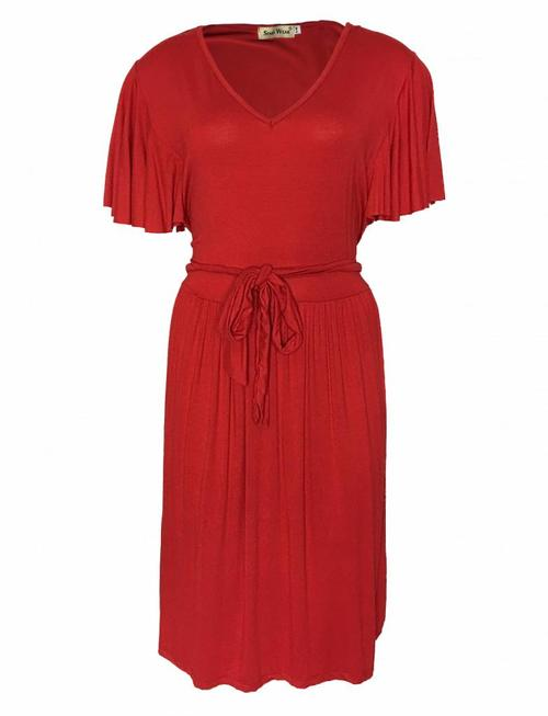 Flower Petals Sleeves Dress - Red