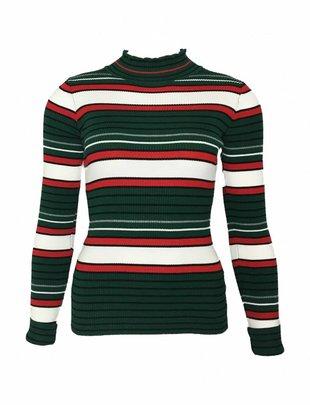 Striped Col Green