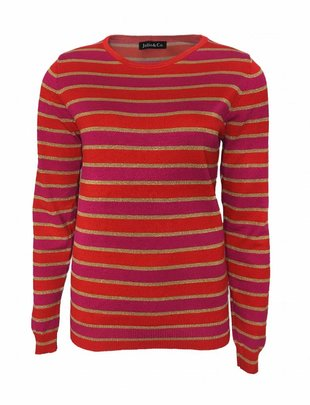 Striped Glittery Sweat - Red
