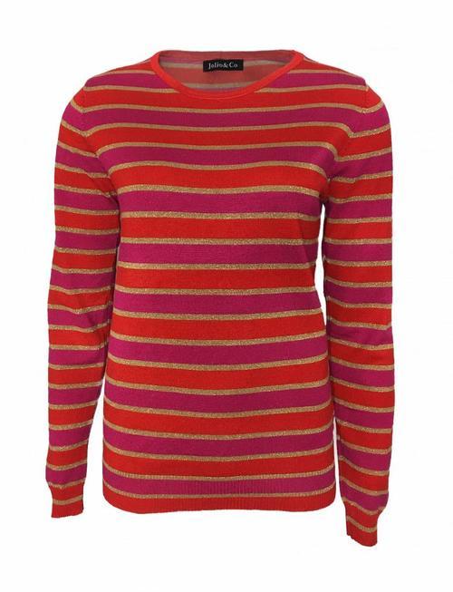 Striped Glittery Sweat - Red