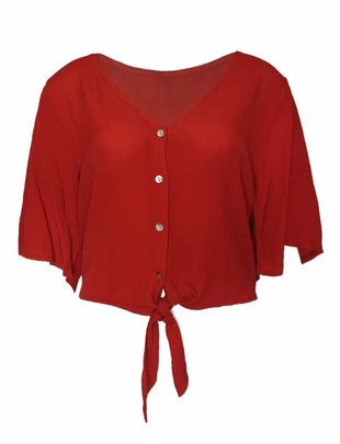 Red Viscose Knot Top